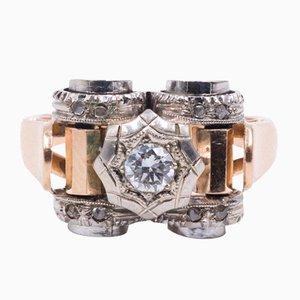Anillo Art Decò en oro de 18 quilates con diamante central