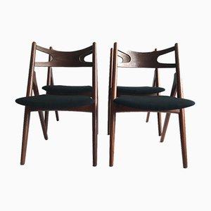 Vintage Danish Teak CH29 Sawbuck Chairs by Hans Wegner for Carl Hansen & Søn, 1950s, Set of 4