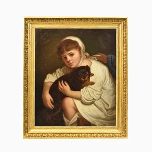 Child with Dog Portrait Painting, Oil Painting on Canvas, 19th Century
