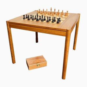 Table d'Échecs en Teck avec Plateau Pivotant et Boîte par Georg Petersen, Danemark