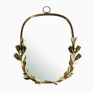 Large Heavy Mid-Century Floral Brass Mirror with Lamps from Vereinigte Werkstätten