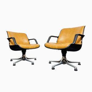 Swivel Armchairs with Aluminium Base, Plastic Shell and Leather Cover, 1970s, Set of 2