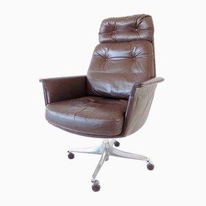 Silla de escritorio de cuero marrón de Horst Brüning para Cor