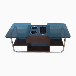 Table Basse en Chrome et Verre Fumé, 1970s