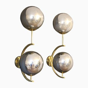 Mid-Century Modern Italian Brass and Mercurised Silver Glass Sconces, 1990s, Set of 2