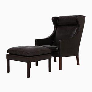 2204 Sessel & 2202 Fußhocker von Børge Mogensen für Fredericia, 2er Set