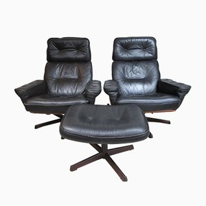 Armchairs and Footstool from Göte Möbel, Sweden, 1960s, Set of 3