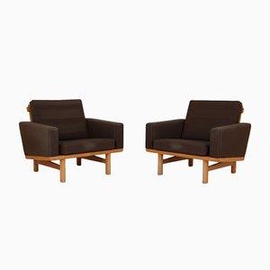 Sedie modello 36 in quercia e lana di Hans J, Wegner, set di 2