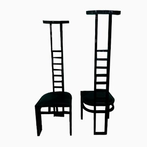 Italian Decorative Black Lacquered Chairs, 1970, Set of 2