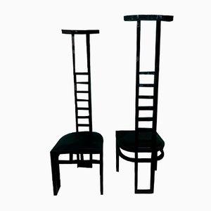 Italienische Dekorative Schwarz Lackierte Stühle, 1970, 2er Set