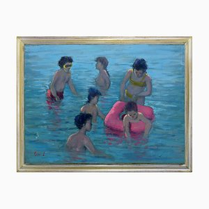 Renato Criscuolo, Bambini al Mare, Olio su tela