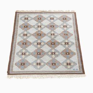 Mid-Century Swedish Hand-Woven Flatweave Röllakan Carpet by Evy Svensson, 1950s