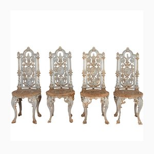 Victorian Decorative Cast Iron Chairs, Set of 4