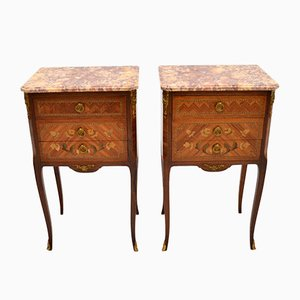 Antique French Bedside Chests with Inlaid Marble Top, Set of 2