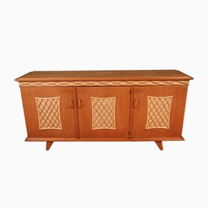 Sideboard in Wood and Rattan, 1960s