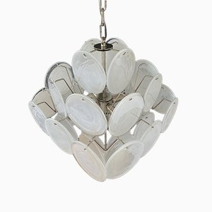 Vintage Italian Murano Chandelier with 36 White Disks, 1979