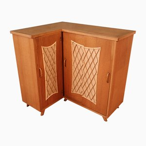 Corner Cabinet in Wood and Rattan, 1960s