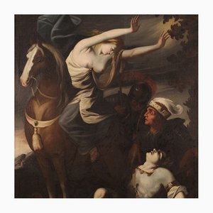 Antique Italian Painting, Erminia Finds Wounded Tancredi, 18th Century