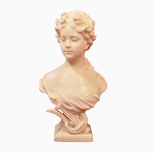 Antique Alabaster Allegory of Music Woman Statue by Nelson, 19th Century