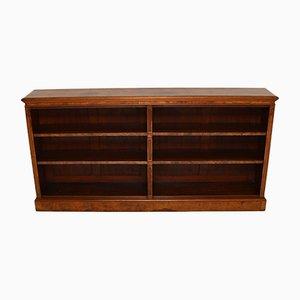 Librería doble victoriana antigua de madera nudosa de nogal