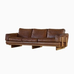 Mid-Century Danish Leather 3-Seat Sofa with Beech Frame, 1960s