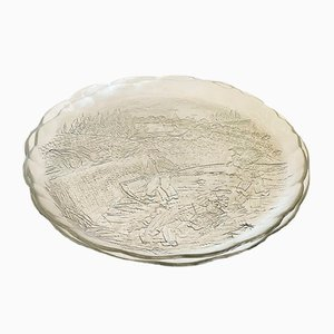 Large Vintage Textured and Pressed Glass Plates with Country Motif from Arcoroc, 1970s, Set of 2