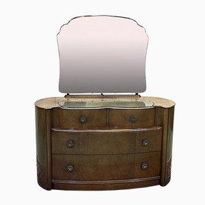 English Art Deco Dressing Table in Walnut