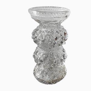 Jarrón Carnival vintage de vidrio texturizado con dos anillos de Austria Stolzle Oberglas, años 60