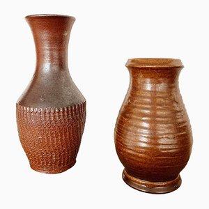 Rustikale deutsche Mid-Century Vasen aus glasierter Terrakotta von Bay Keramik, 1970er, 2er Set