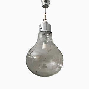 Lampada a sospensione in vetro e metallo cromato, anni '70