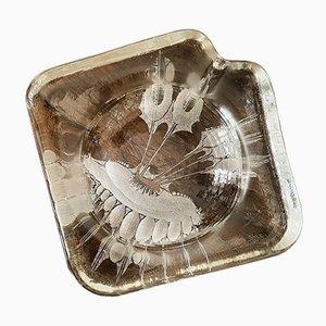 Mid-Century Art Glass Ice Block Schmuck Tablett oder Aschenbecher, 1970er