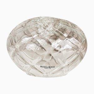 Vase Bougeoir Mid-Century en Verre de Cristal Texturé de Kosta Boda
