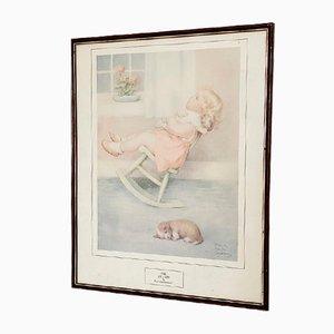 Impresión vintage grande enmarcada para habitación de niñas de Bessie Pease Gutmann