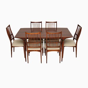 Vintage Swedish Dining Table & Chairs by Svante Skogh for Seffle Möbelfabrik, Set of 7