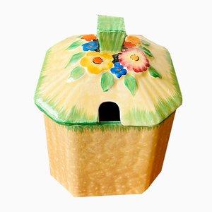 Vintage Art Deco Garden Path Sugar Container or Preserve Honey Jar from Crown Devon, 1930s