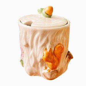 Pot à Sucre ou Pot à Miel Vintage Art Déco Décoré d'Écureuil et de Gland de Crown Devon, 1930s