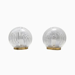Lampes de Bureau Sphériques Mid-Century en Verre de Murano de Venini, Italie, Set de 2