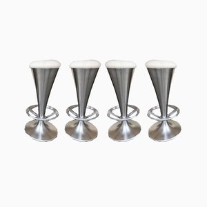 Italian Cone Stainless Steel Bar Stools, 1990s, Set of 4