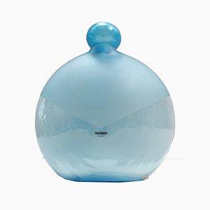 Runde Vintage Vintage Flasche aus hellblauem Muranoglas von Alfredo Barbini, Italien, 1980er