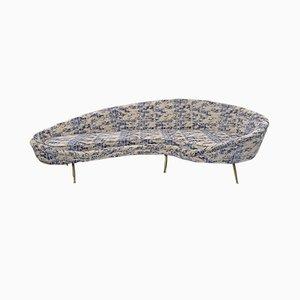 Sofá Mid-Century moderno curvado de terciopelo de Federico Munari, Italy, años 50