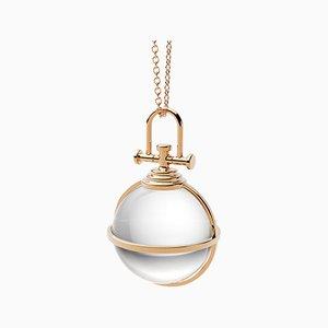 Mini Collier Orbe Sacré Moderne en Or Jaune 18 Carats avec Cristal de Roche Naturel par Rebecca Li