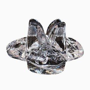 Vintage Flower-Shaped Crystal Glass Candleholder from Kosta Sweden, 1970s