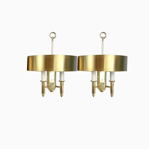 Theater Style Brass Sconces from ÖIA, Sweden, 1970s, Set of 2