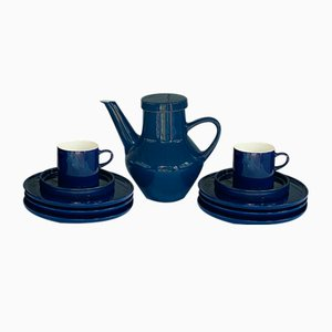 Mid-Century Navy Blue Porcelain Coffee Set for 2 Persons from Melitta, 1960s, Set of 10
