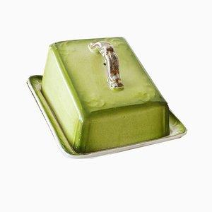 Beurrier ou Dôme à Fromage Art Nouveau Antique en Vert