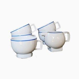 Pichet à Café et Crème Vintage Minimaliste de Seltmann Weiden Bavaria, 1960s, Set de 6