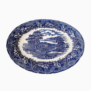 Vintage Blue and White Serving Plate from Barrats, 1970s
