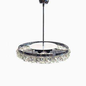 Chandelier with Crystals Attributed to Oscar Torlasco, 1970s
