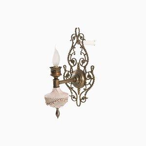 Venezianische Jugendstil Wandlampen aus rosa Porzellan, Messing und Bronze von Bassano, 2er Set