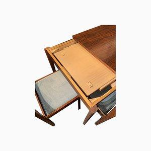 Table et 4 Chaises Mid-Century en Palissandre, Set de 5